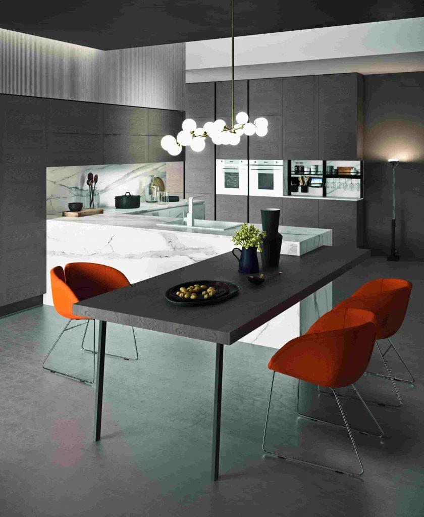 Isola cucina Moderna Astra in laminato Hpl proposta da Lab cucine Torino centro cucine specializzato.spec