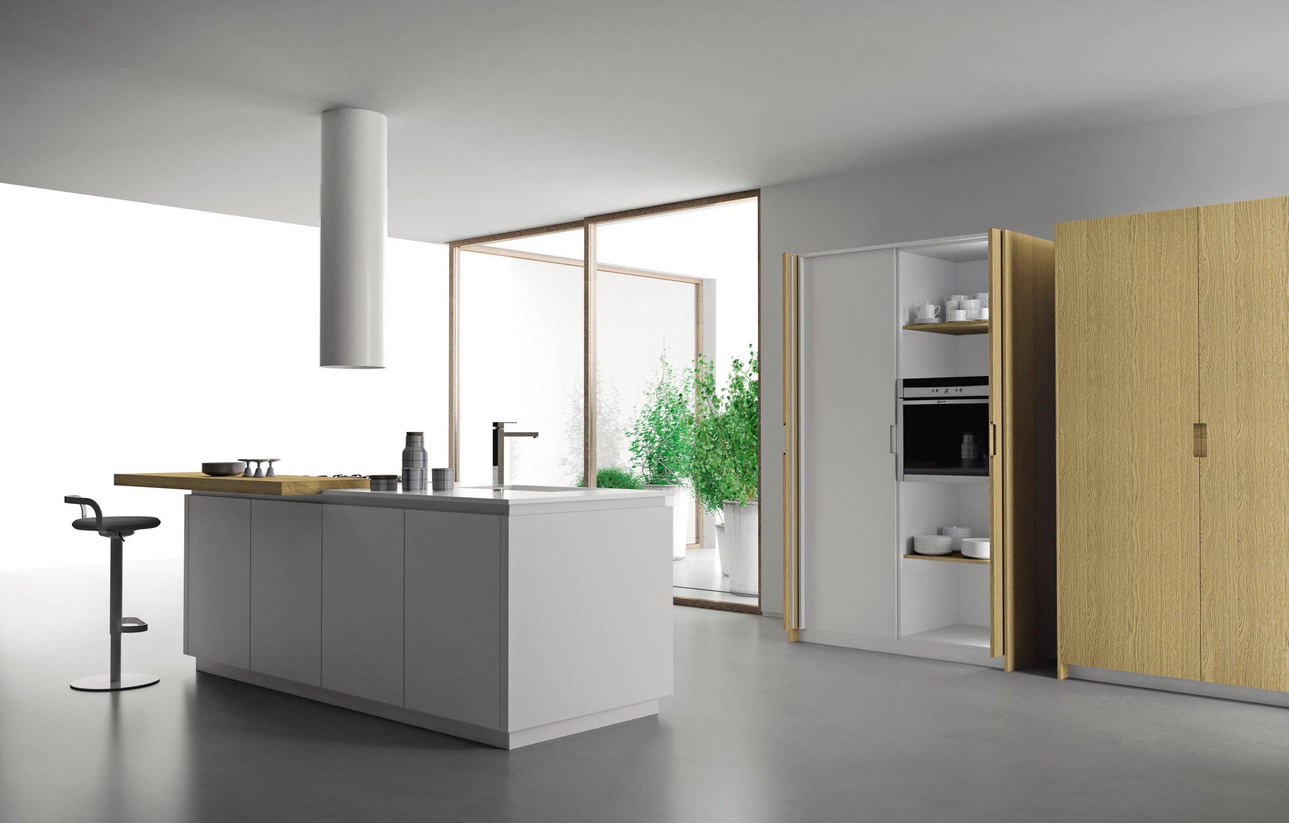 Cucina stile Total white con legno chiaro proposta da Lab Cucine Torino