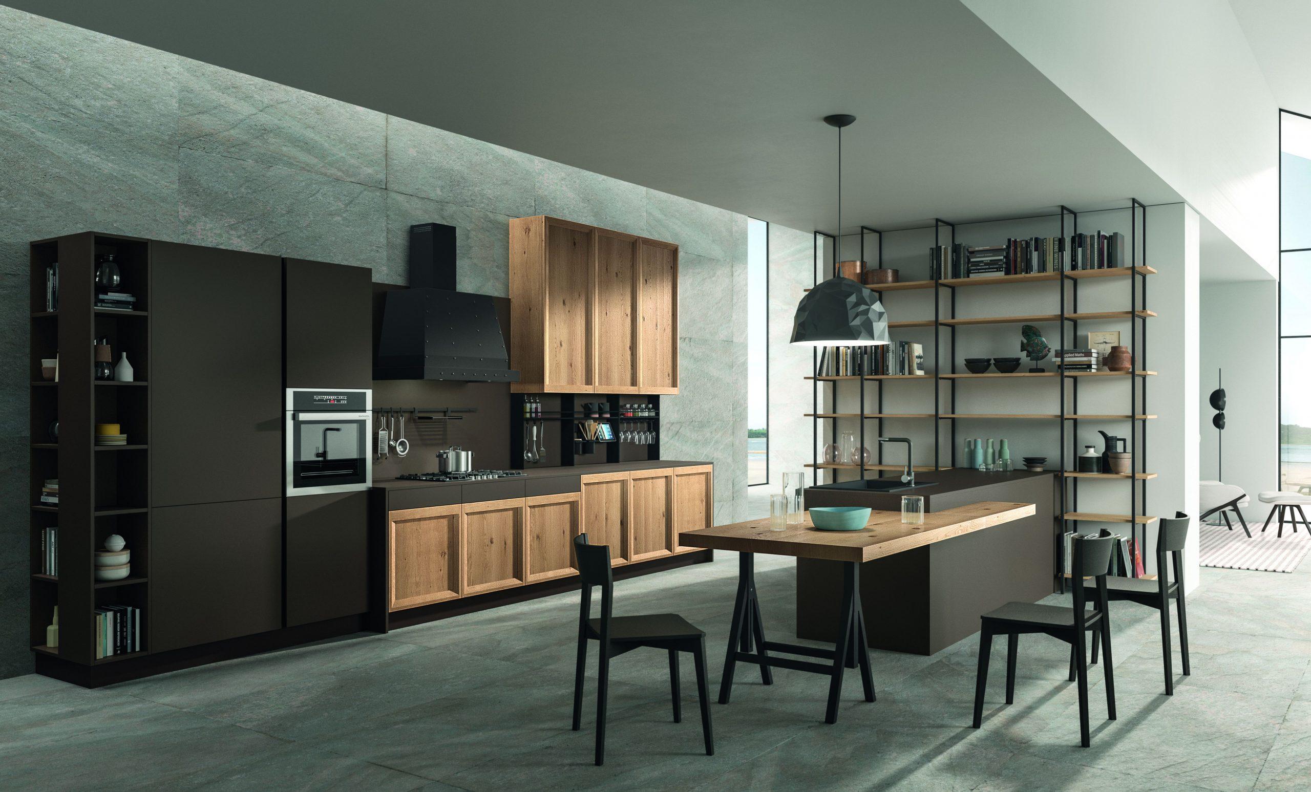 esempio di cucina di design rovere nodato