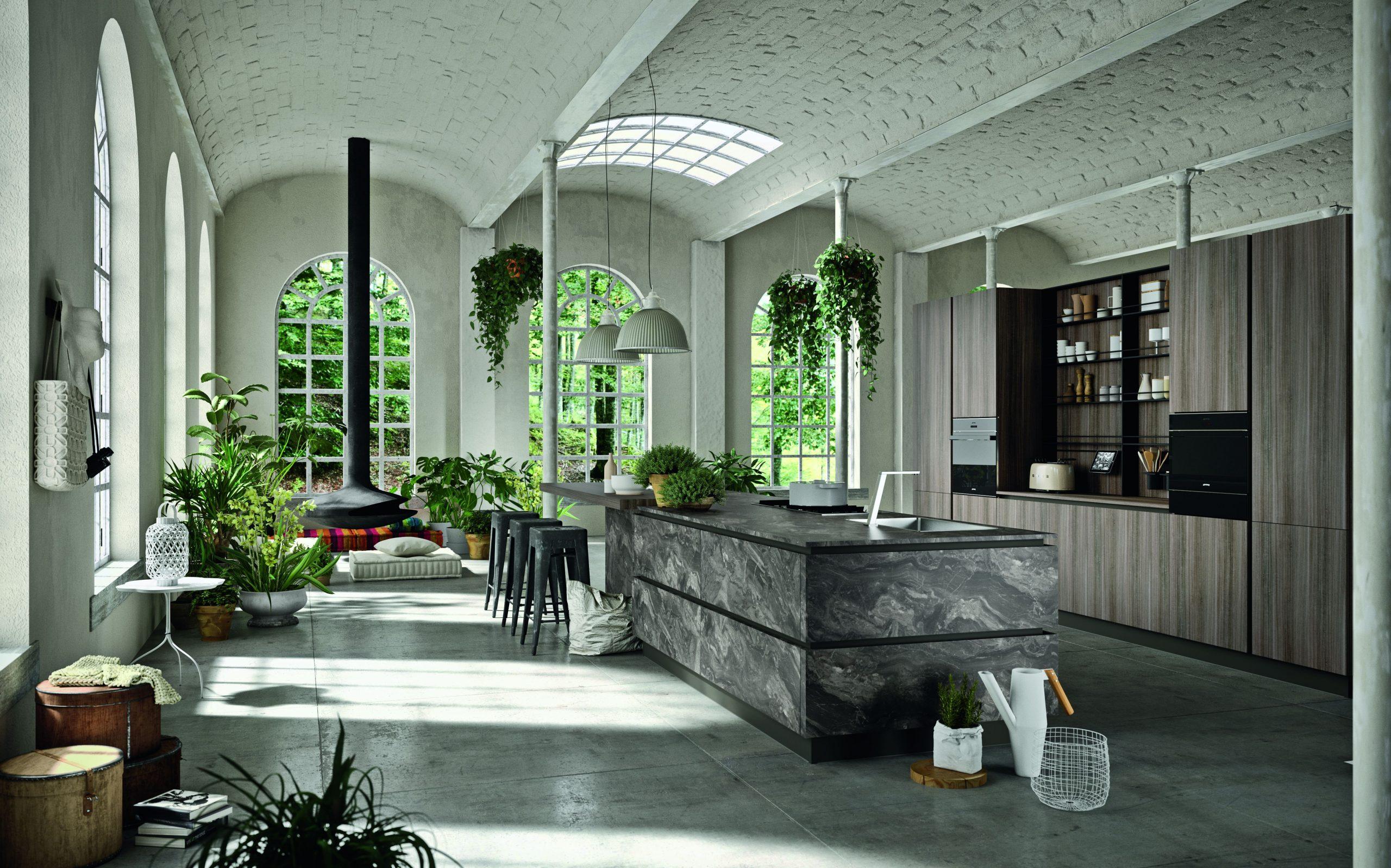 Modello di cucina industrial effetto pietra naturale e di eucaliptolegno