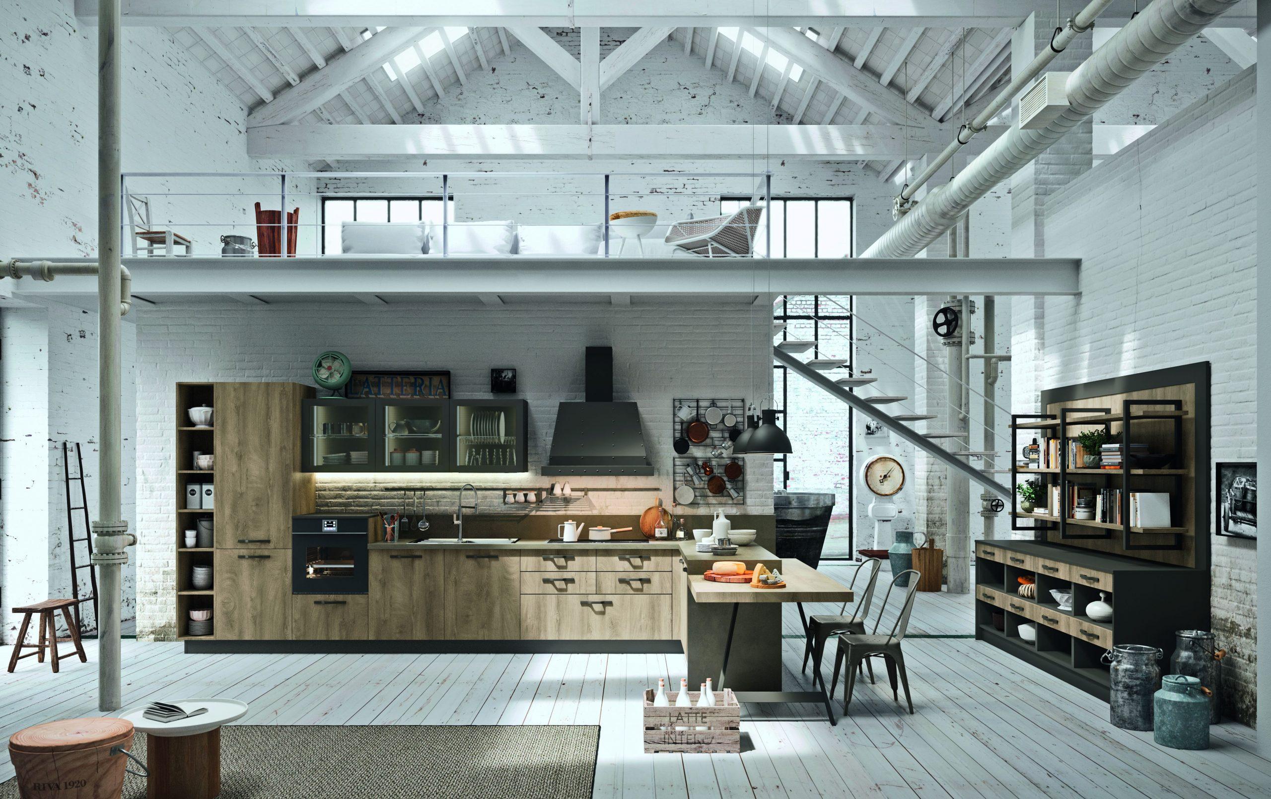 Cucina in stile industriale in un Loft