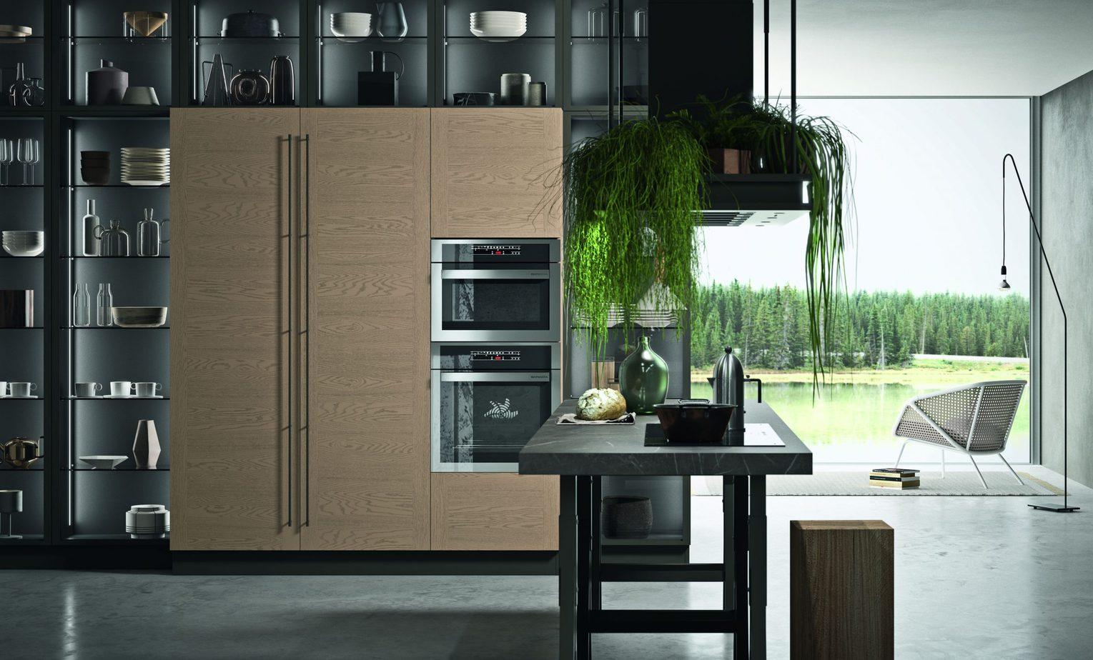 Isola con cottura in una cucina design in HPL