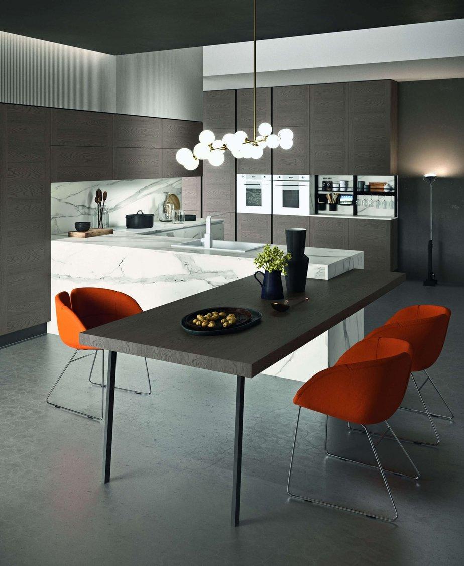 Tavolo penisola in una cucina di design poro aperto
