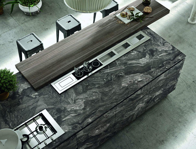 Canale attrezzato inox retro top , per la cucina Industrial effetto pietra.
