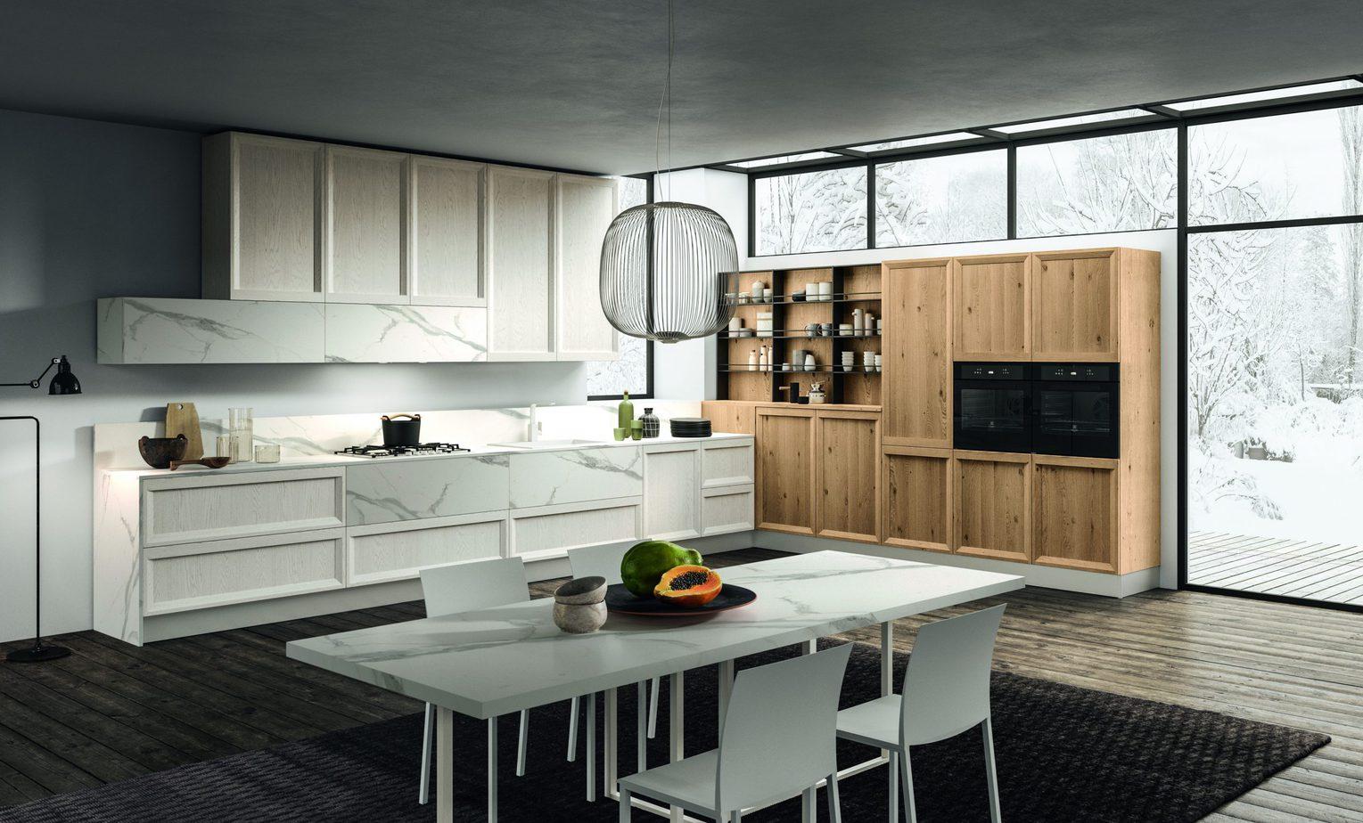 Cucina di design Rovere Nodato, bianco laccato e HPL marmo