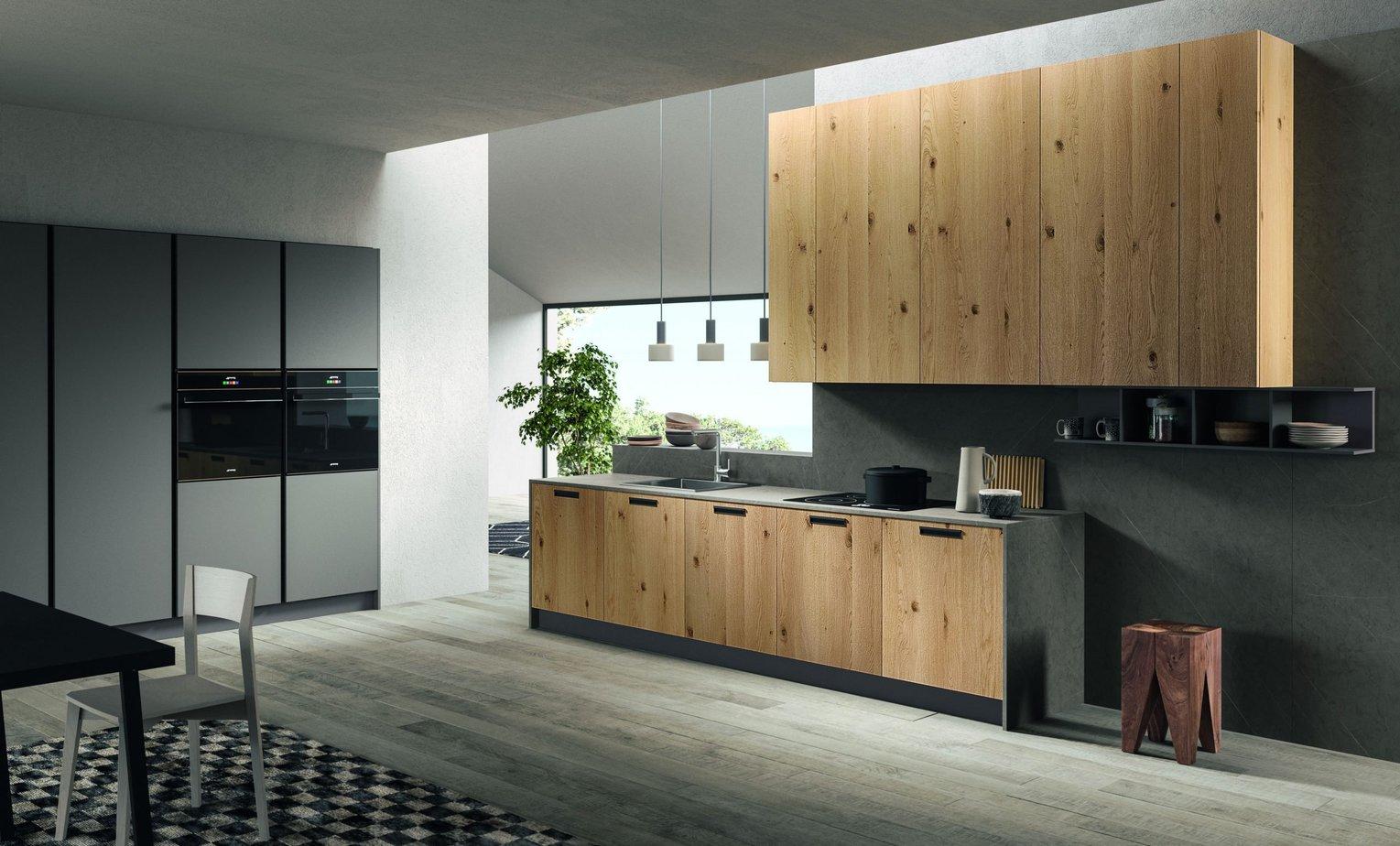 Cucina di design Rovere Nodato con anta Liscia