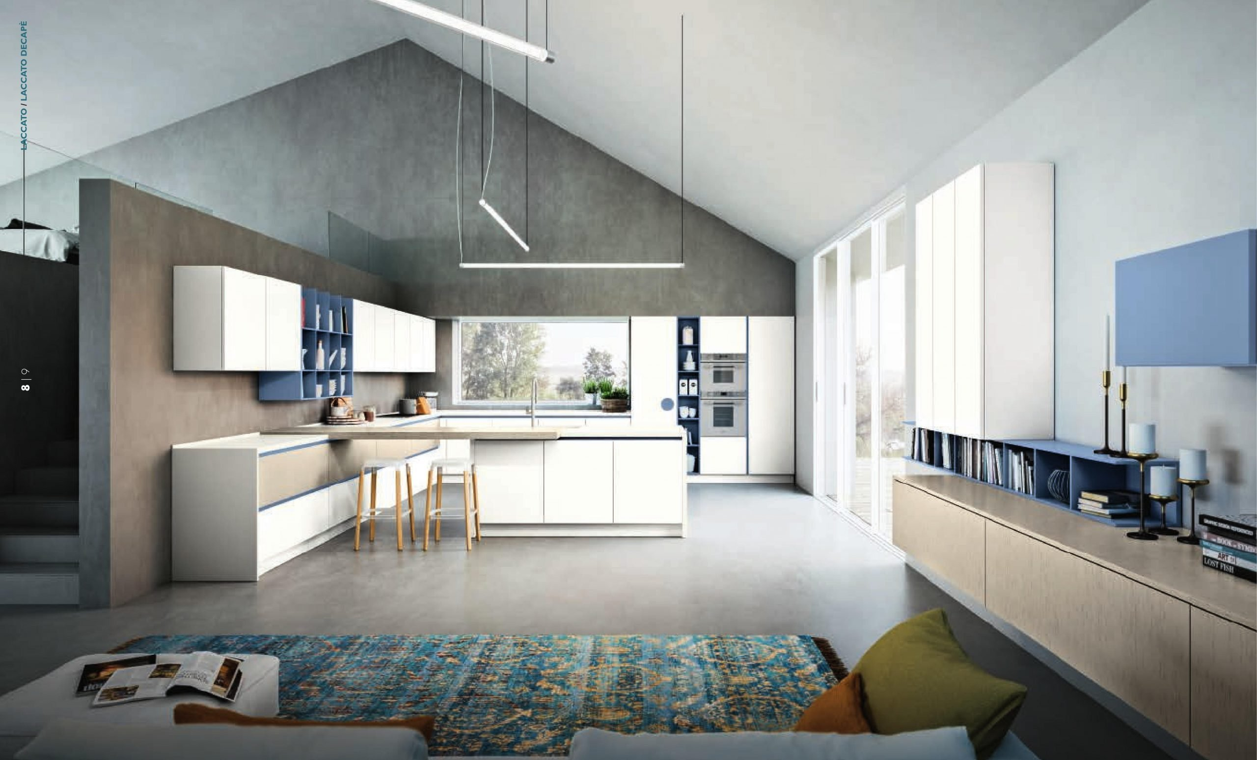 composizione cucina bianca moderna in laminato