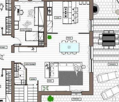 progetto di ambiente open space con cucina e zona giorno