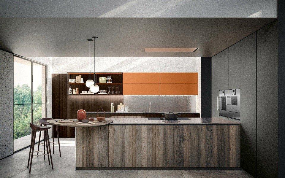 Ampia cucina con basi in finitura legno vecchio grey, tra le soluzioni cucina di tendenza