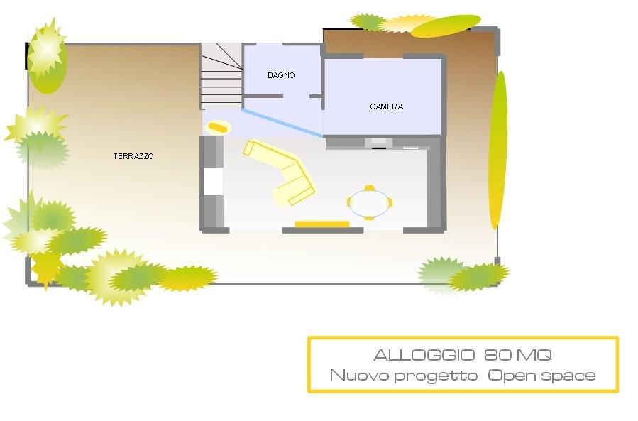 pianta alloggio medio nuova soluzione con realizzazione cucina open space con area giorno collegata