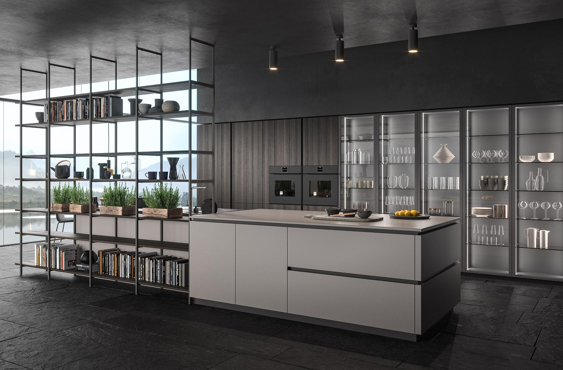 Ampia composizione cucina moderna con angolo destinato alle erbe aromatiche