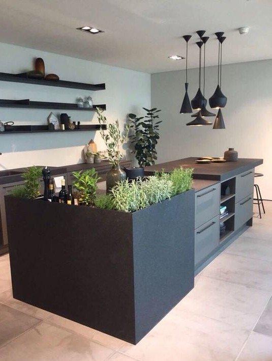 Primo piano di erbe aromatiche in cucina su una composizione moderna grigio scuro