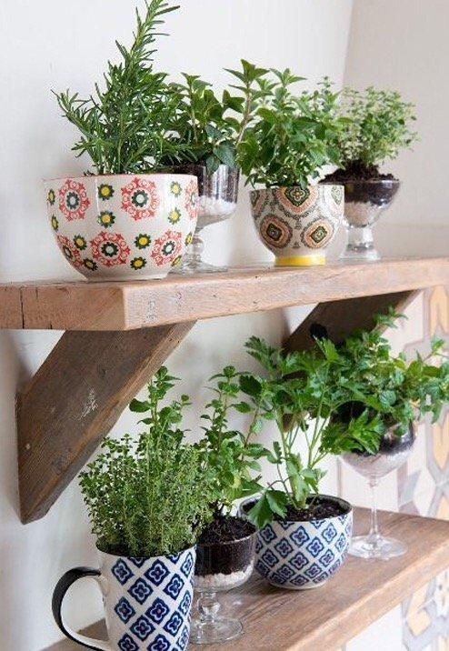 Esempio di erbe aromatiche in cucina su mensola