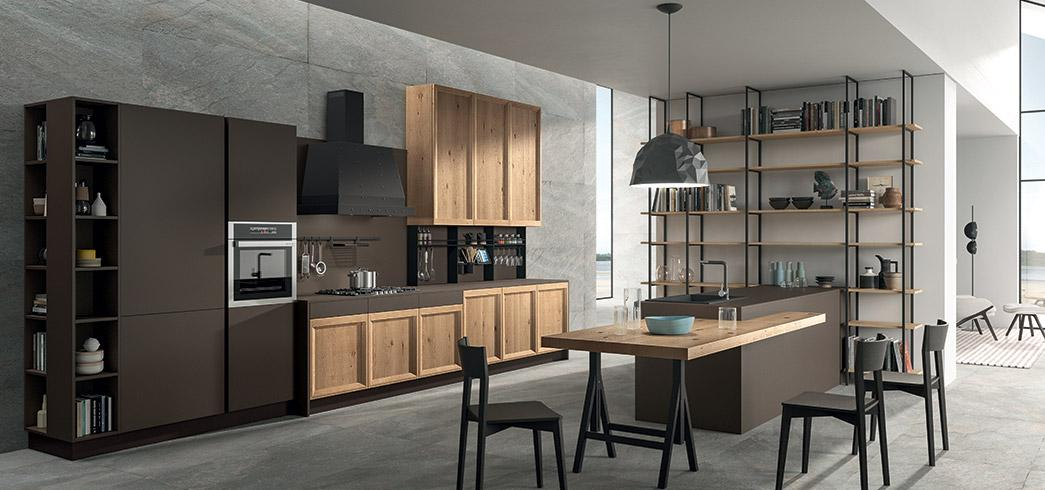 Composizione di cucina moderna Brio/Atelier con elementi pensili maxi volume delle cucine XXL