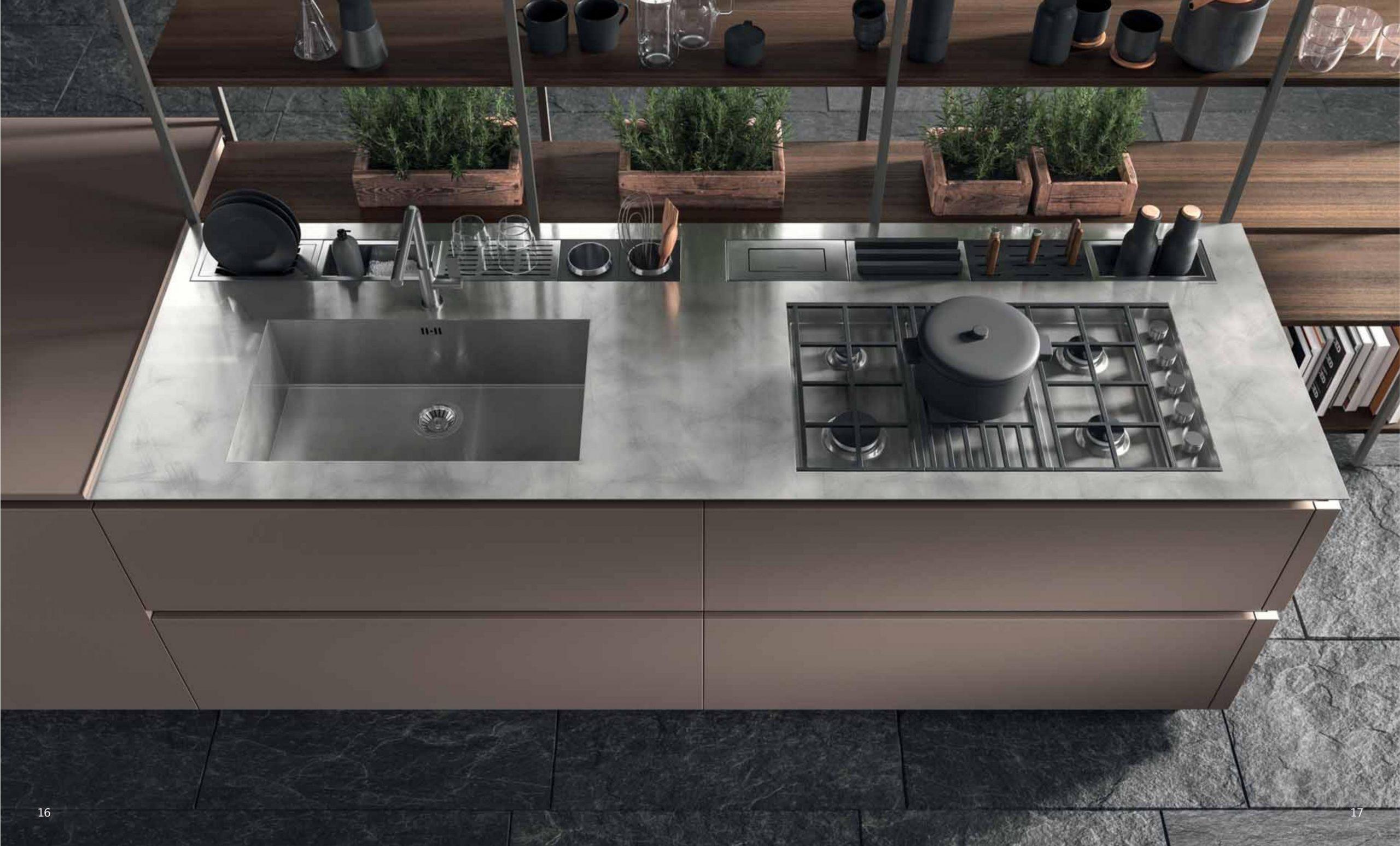 Primo piano su area cottura e lavaggio di una isola della serie cucine XXL
