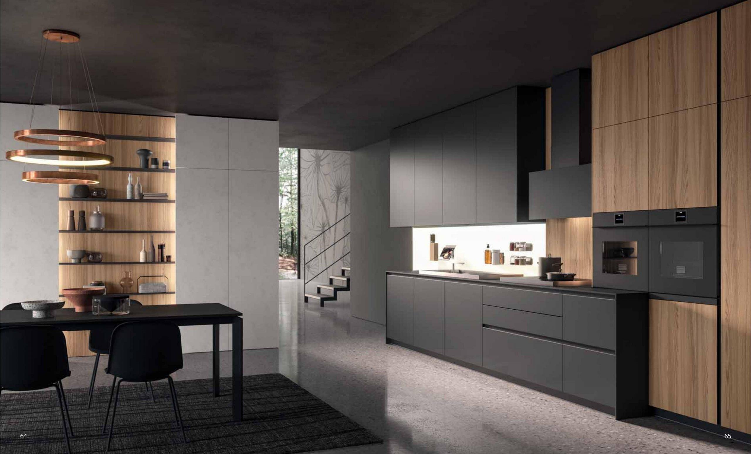 Composizione cucina moderna in legno e laccato grigio modello HC08 della linea cucine XXL di Astra cucine