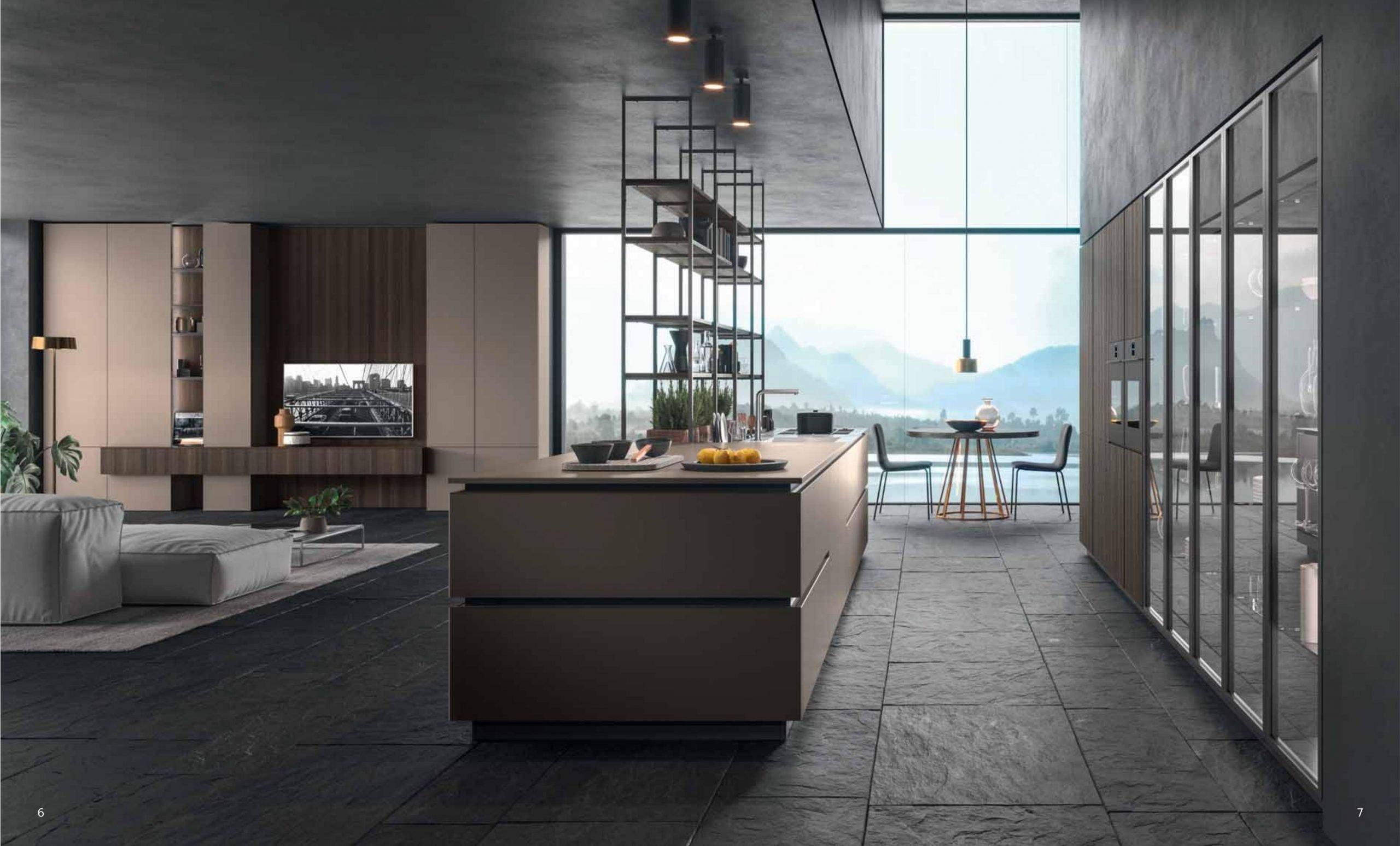 Ambientazione moderna comprendente area soggiorno e cucina della linea cucine XXL