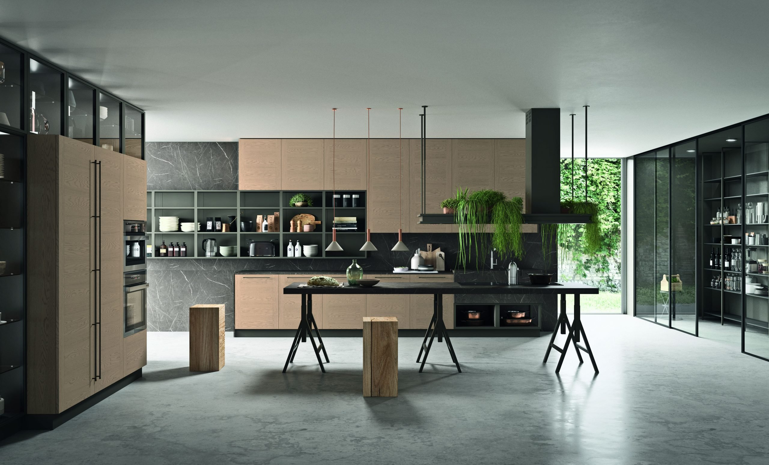 Composizione cucina moderna con serie di elementi pensili a tutta altezza delle cucine XXL