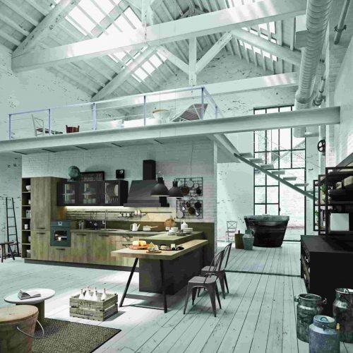 Cucina stile industrial legno/ferro Astra